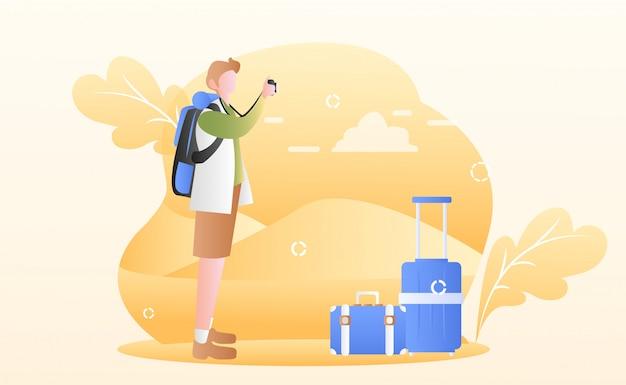 Ilustracja dzień turystyki Premium Wektorów