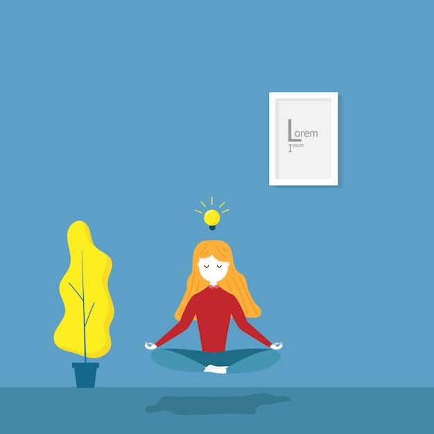 Ilustracja dziewczyna ćwiczy medytacji joga dla pomysłu w jej pokoju płaskim kreskówka wektorze Premium Wektorów