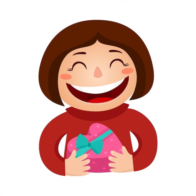 Ilustracja dziewczyna trzyma uśmiechnięte serce prezent. walentynki Premium Wektorów