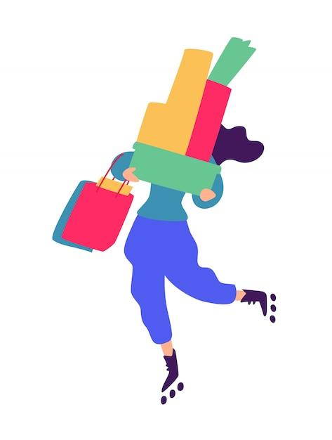 Ilustracja dziewczyna z zakupy. Premium Wektorów