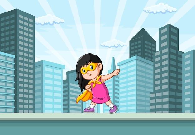 Ilustracja Dziewczyny Superbohaterów Pozującej W Mieście W Pobliżu Budynku Premium Wektorów