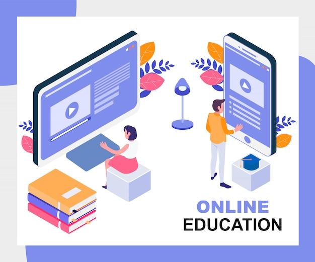 Ilustracja edukacji online Premium Wektorów