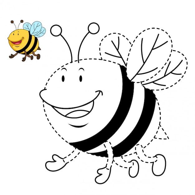 Ilustracja Edukacyjna Gra I Kolorowanie Pszczół Premium Wektorów