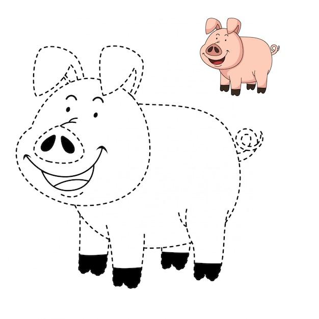 Ilustracja Edukacyjna Gra I Kolorowanka świni Premium Wektorów