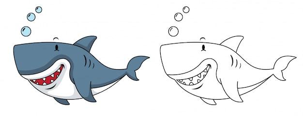 Ilustracja Edukacyjnego Kolorowania Rekina Premium Wektorów
