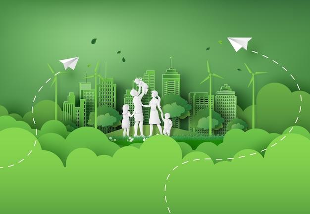 Ilustracja Eko I światowego Dnia środowiska Z Szczęśliwą Rodziną. Styl Sztuki Papieru. Premium Wektorów