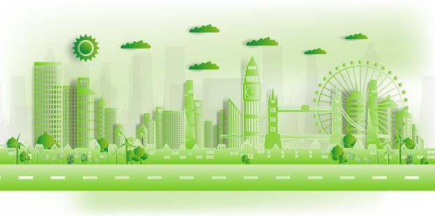 Ilustracja. Ekologiczne, Zielone Miasto Uratować świat, Premium Wektorów