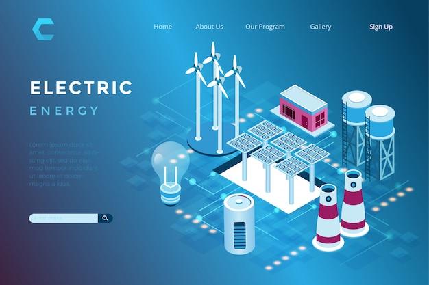 Ilustracja Elektrowni Słonecznej I Wiatrowej Z Koncepcją Przyjazną Dla środowiska W Izometrycznym Stylu 3d Premium Wektorów