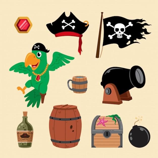 Ilustracja Elementów Piratów Premium Wektorów