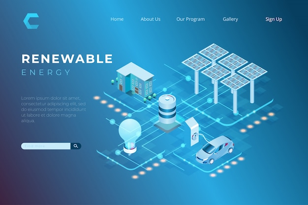 Ilustracja Energia Odnawialna Używa Energię Słoneczną Dla Potrzeb Paliwa I Elektryczności W Isometric 3d Stylu Premium Wektorów