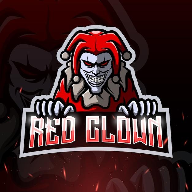 Ilustracja Esport Maskotka Czerwony Klaun Premium Wektorów