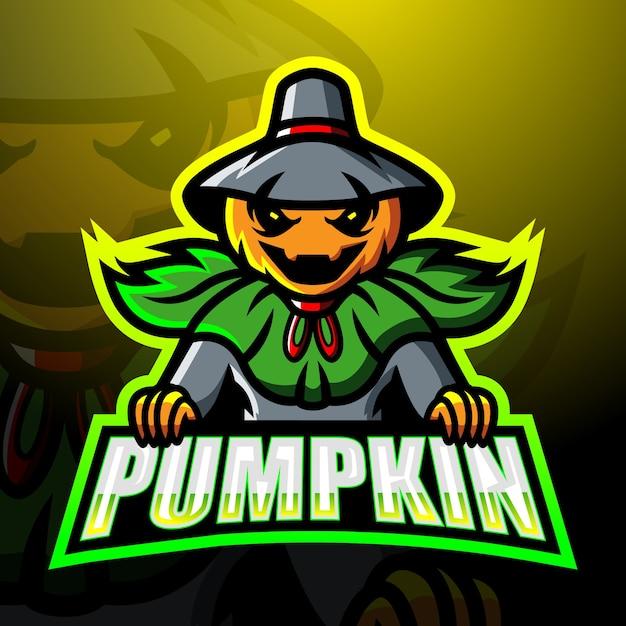 Ilustracja Esport Maskotka Halloween Dynia Premium Wektorów