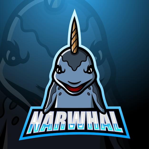 Ilustracja Esport Maskotka Narwala Premium Wektorów