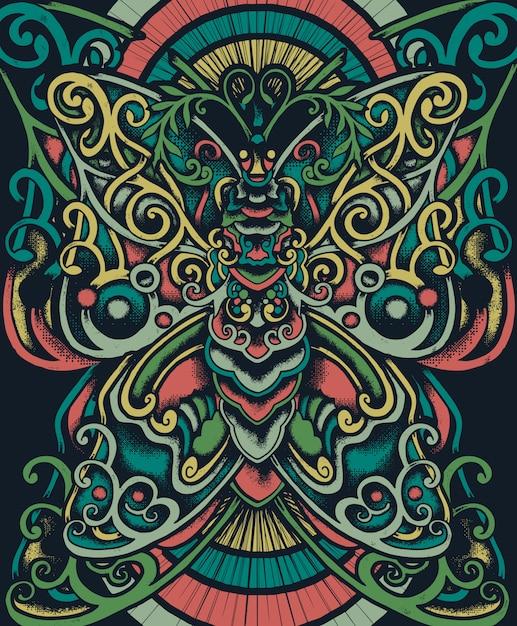 Ilustracja etniczna kwiatowy motyl Premium Wektorów