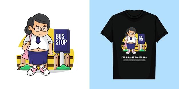 Ilustracja Fat Girl Waiting Bus Idzie Do Szkoły Z T-shirt Design Premium Wektorów