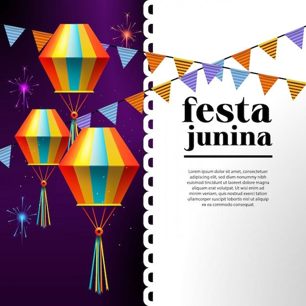 Ilustracja Festa Junina Z Flagami Partii I Papierowa Latarnia Premium Wektorów