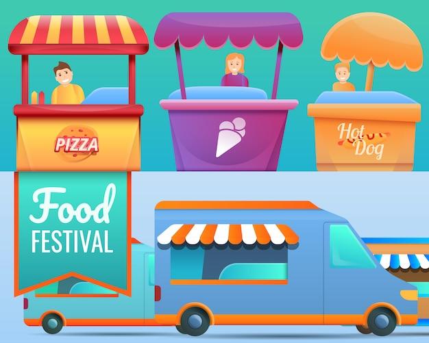 Ilustracja festiwal żywności na stylu cartoon Premium Wektorów