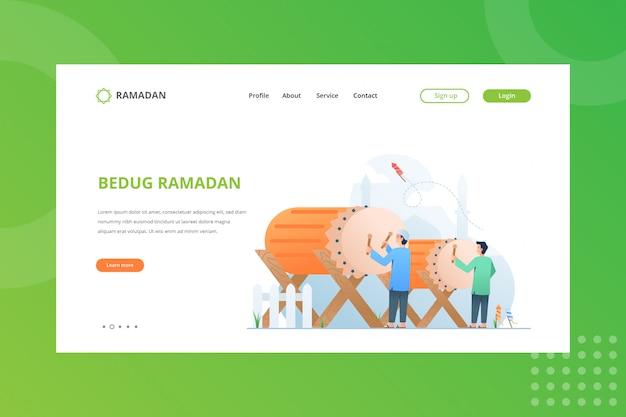 Ilustracja Festiwalu Bedug Dla Ramadan Concept Na Stronie Docelowej Premium Wektorów