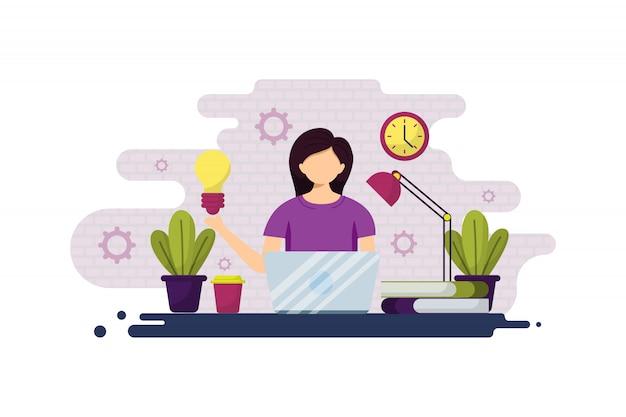 Ilustracja Freelancer, Kobieta Biznesu I Pracy Zdalnej Premium Wektorów