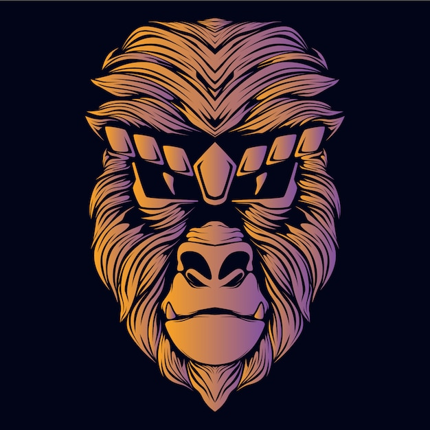 Ilustracja Głowa Małpy Pomarańczowy Premium Wektorów