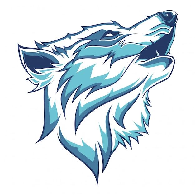 Ilustracja głowa wilka Premium Wektorów