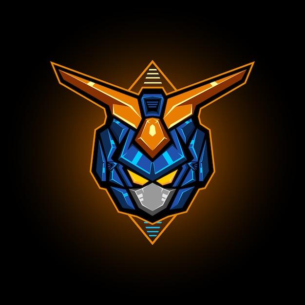 Ilustracja głowicy robota wektor esports logo Premium Wektorów