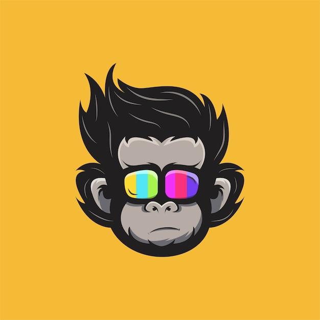 Ilustracja Głowy Małpy W Kolorowych Okularach. Premium Wektorów