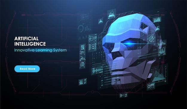 Ilustracja Głowy Robota Stworzona W Stylu Low Poly. Ai. Koncepcja Sztucznej Inteligencji. Szablon Układu Banera Internetowego Z Futurystycznym Interfejsem Hud. Premium Wektorów