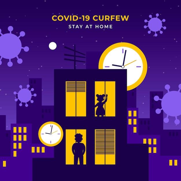 Ilustracja Godziny Policyjnej Koronawirusa Darmowych Wektorów