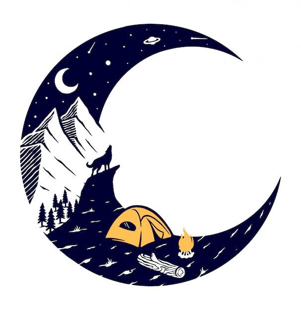 Ilustracja Góry I Księżyca Premium Wektorów