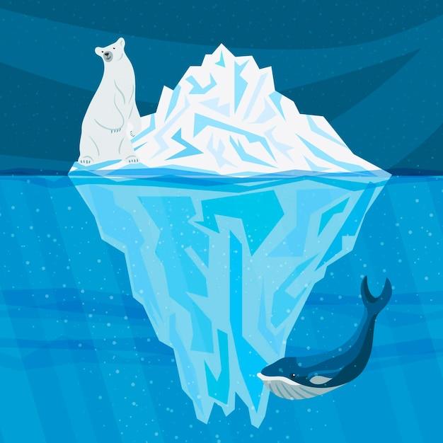 Ilustracja Góry Lodowej Z Wielorybem I Niedźwiedziem Polarnym Darmowych Wektorów