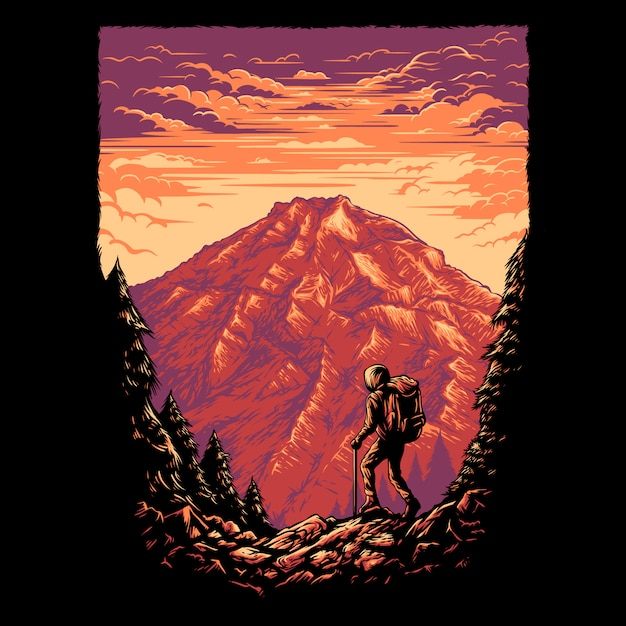 Ilustracja Góry Premium Wektorów
