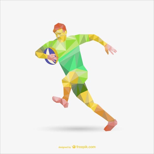 Ilustracja Gracz Rugby Wielokąta Darmowych Wektorów