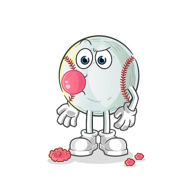 Ilustracja Guma Do żucia Baseball Premium Wektorów
