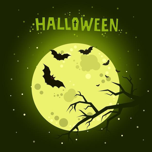 Ilustracja Halloween. Nietoperze Latające W Nocy Przy Pełni Księżyca Na Ciemnozielonym Tle. Premium Wektorów