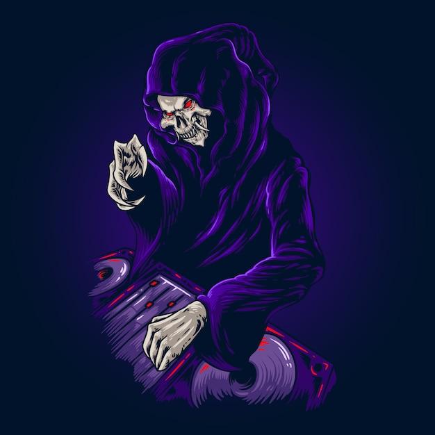 Ilustracja halloween party death Premium Wektorów