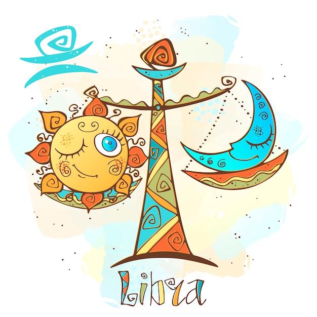 Ilustracja horoskop dla dzieci. zodiak dla dzieci. znak waga. Premium Wektorów