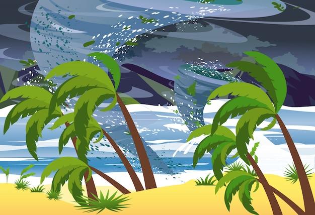 Ilustracja Huragan W Oceanie. Ogromne Fale Na Plaży. Koncepcja Klęski żywiołowej Tropikalny W Stylu Płaski. Premium Wektorów