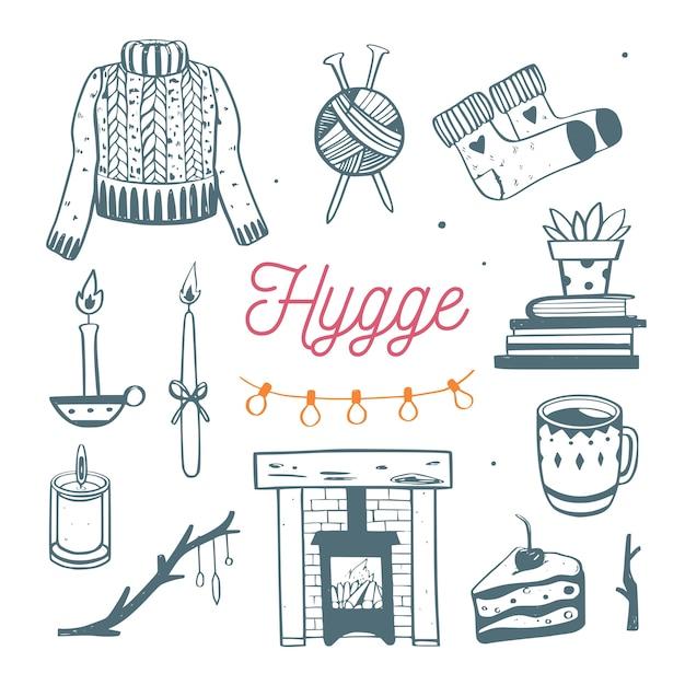 Ilustracja Hygge Z Przytulnymi Elementami Na Sezon Zimowy. Premium Wektorów