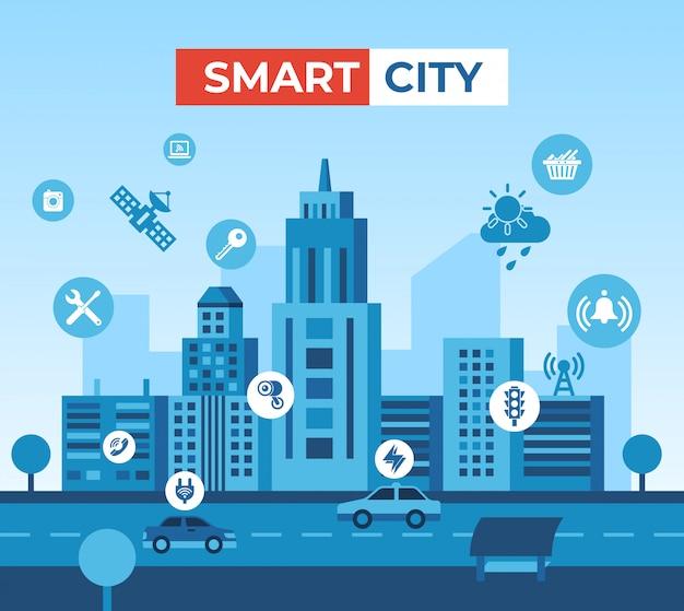 Ilustracja i elementy inteligentnej technologii miasta Premium Wektorów