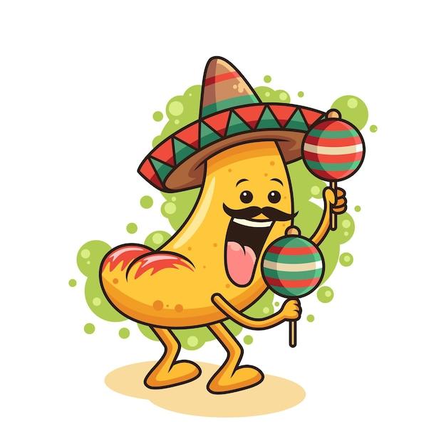 Ilustracja Ikona ładny Nacho. Koncepcja Ikona żywności Z Zabawną Pozą. Na Białym Tle Premium Wektorów
