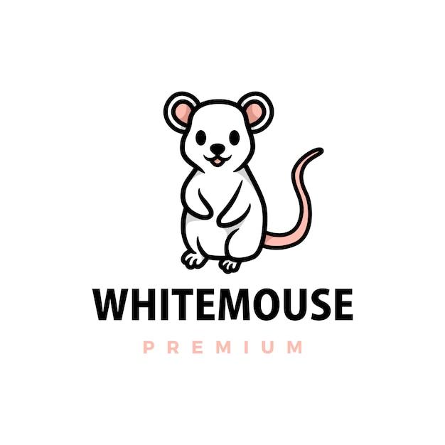 Ilustracja Ikona Logo Kreskówka ładny Biały Mysz Premium Wektorów