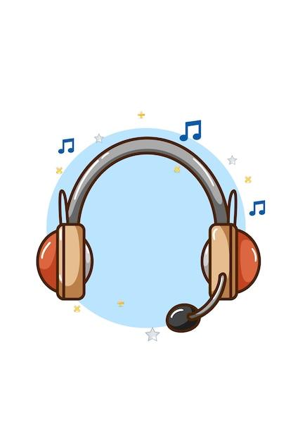 Ilustracja Ikona Muzyki Słuchawek Premium Wektorów