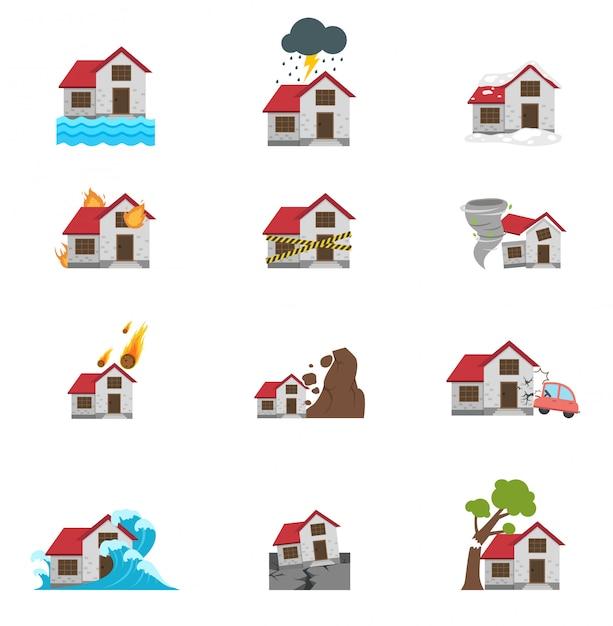 Ilustracja Ikony Klęski żywiołowej Premium Wektorów