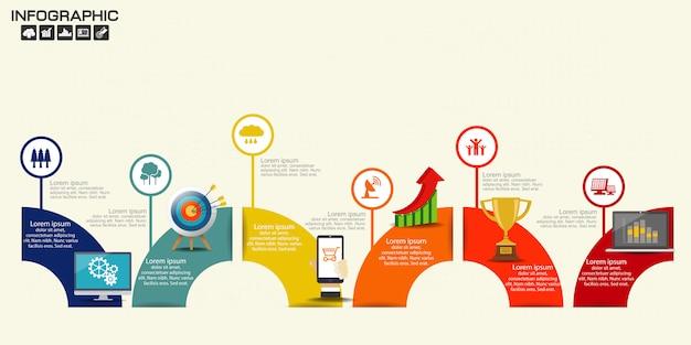 Ilustracja infographic linii czasu strzała układu szablon Premium Wektorów