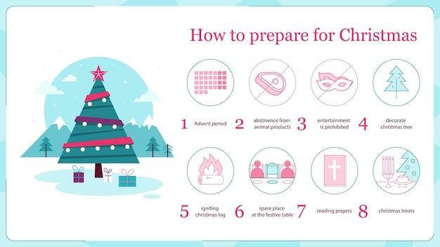 Ilustracja Instrukcji Przygotowania Wakacji. świąteczne Przygotowania, Jak Uczcić Klasyczne Boże Narodzenie, Udekorować Choinkę, Przygotować Choinkę, Zaserwować Uroczysty Obiad. Premium Wektorów