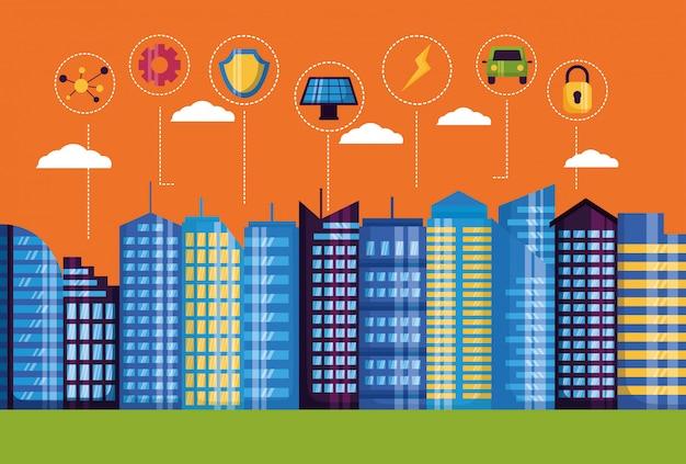 Ilustracja inteligentnego miasta Darmowych Wektorów