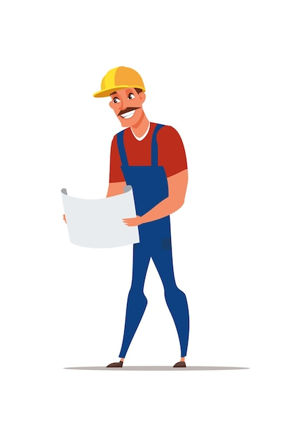 Ilustracja Inżynier Budowy Premium Wektorów