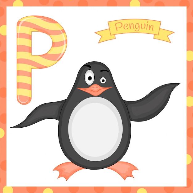 Ilustracja Izolowanych Zwierząt Alfabet Litera P Jest Dla Alfabetu Kreskówka Pingwina Premium Wektorów