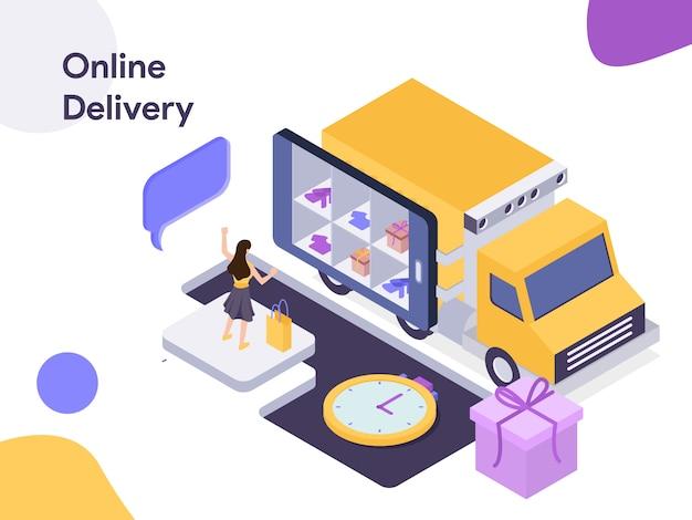 Ilustracja izometryczna dostawy online Premium Wektorów